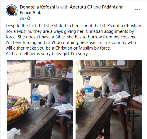 Tribal mark model, Adetutu rants about her daughter being given Christian assignments even though she stated she is neither Christian nor Muslim