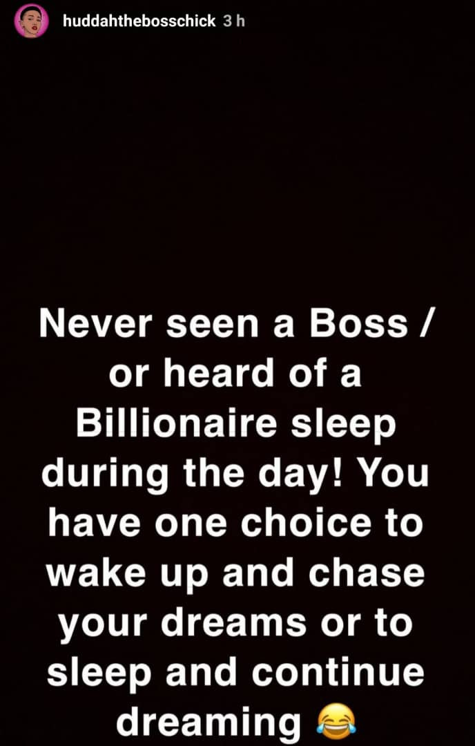 """Never seen a billionaire sleep during the day"" Kenyan socialite, Huddah Monroe writes as she says she doesn"