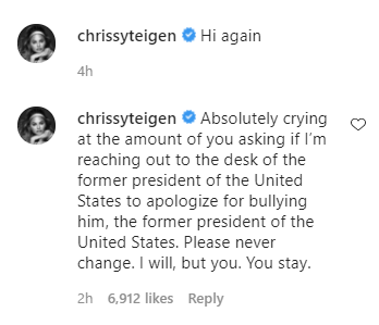 Chrissy Teigen apologizes for engaging in online trolling