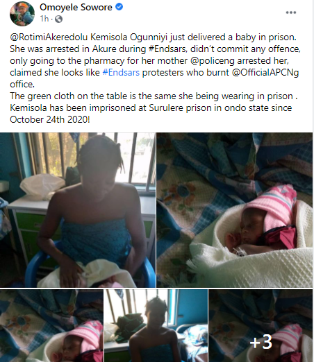 Pregnant woman allegedly arrested during #EndSARS protest in Ondo welcomes her baby in prison (photos)