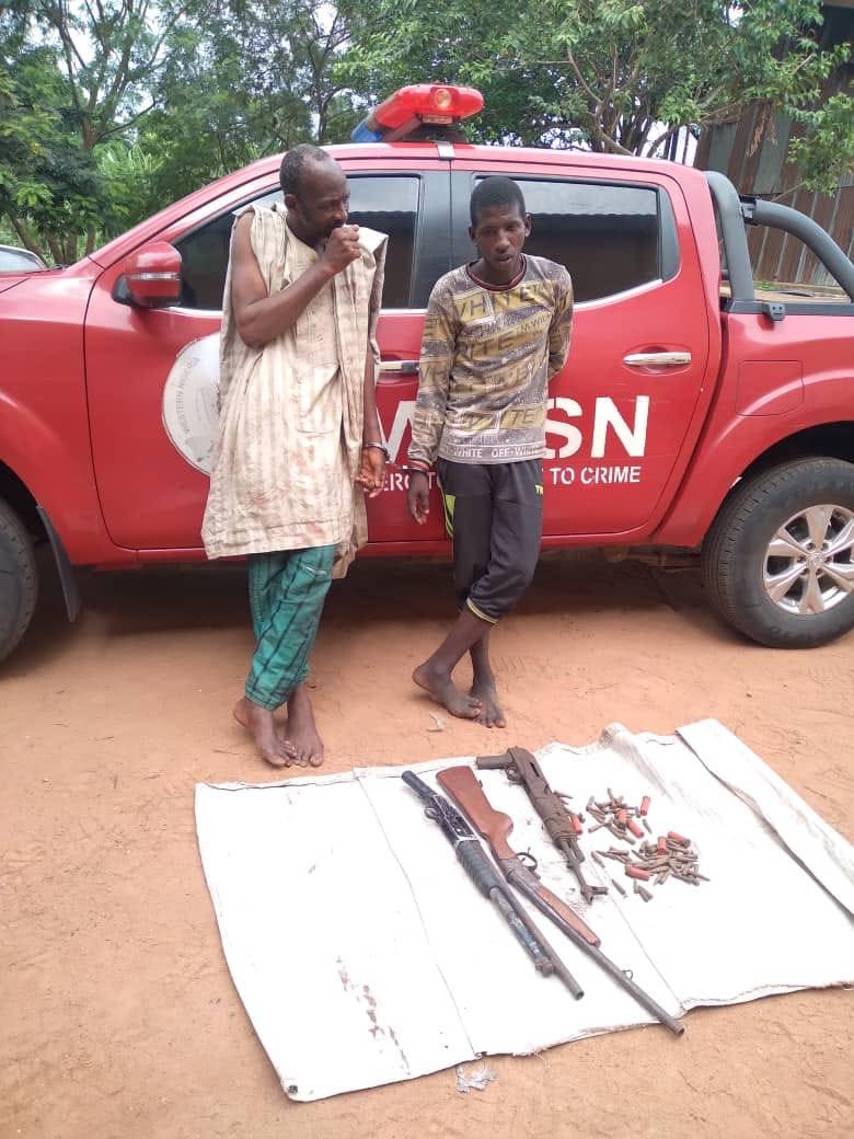 Amotekun arrests two suspected bandits with AK47, pump-action gun in Oyo