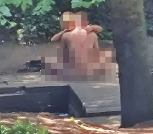 Naked couple arrested after they were seen romping in park in broad daylight