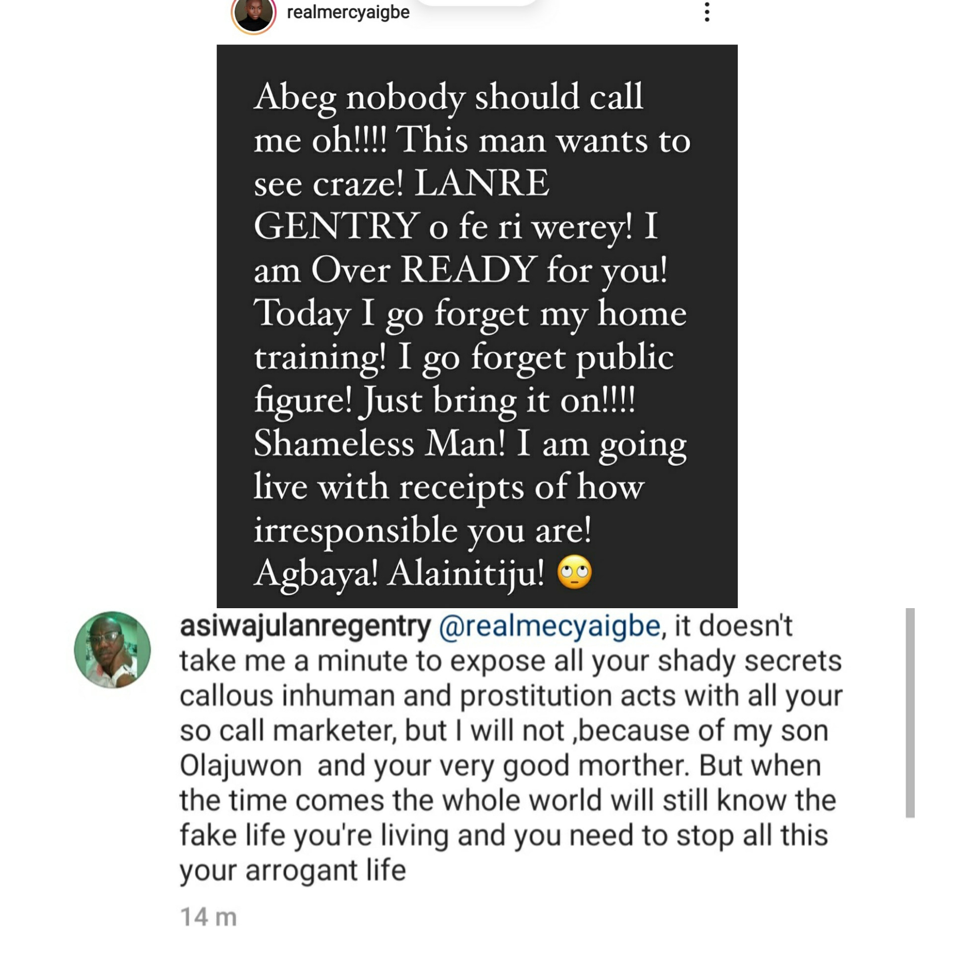Fathers day: Mercy Aigbe and her ex-husband, Lanre Gentry, continue to slam each other on IG
