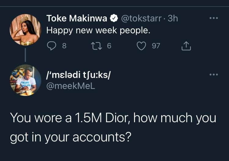 Between Toke Makinwa and a follower asking how much she