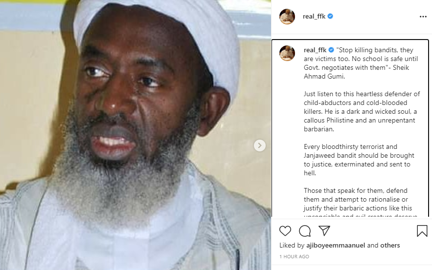 FFK blasts Sheik Gumi for describing bandits as victims