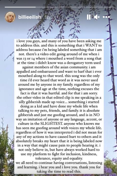 Singer Billie Eilish apologizes for using Asian slur in old video
