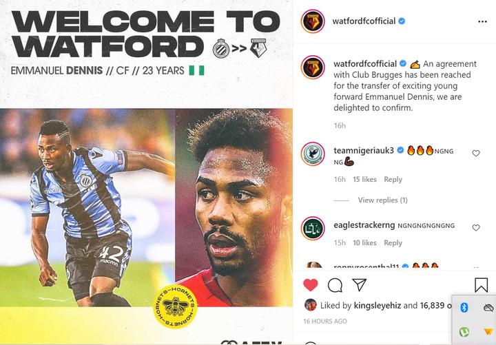 Super Eagles striker, Emmanuel Dennis joins Premier League club Watford from Club Brugge