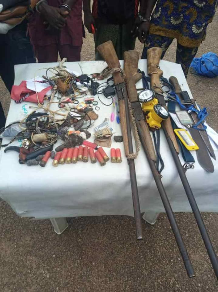The items recovered from the suspects included three fane guns, two daggers, one cutlass, two head-lamps