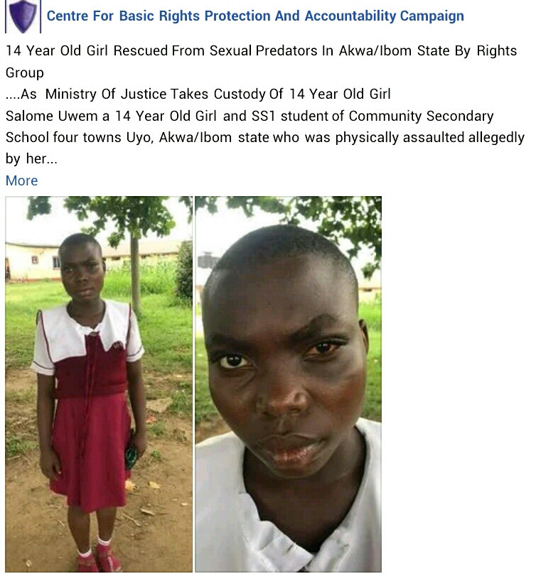Rights group rescue 14-year-old girl who was allegedly assaulted by her step father and step brother for resisting rape in Akwa Ibom