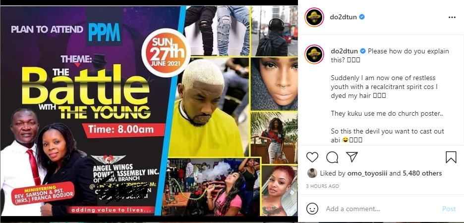 OAP Dotun reacts to his photo being used on a church poster as a