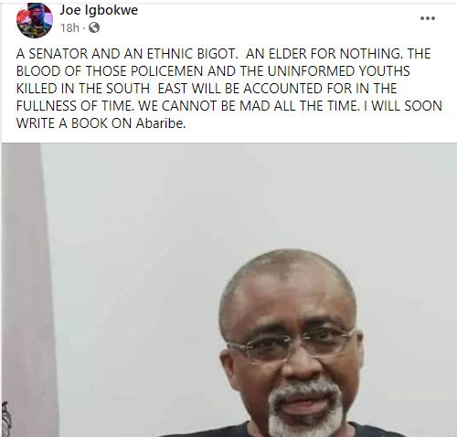 Joe Igbokwe slams Abaribe for wearing 'dot nation' t-shirt, Abaribe is an ethnic bigot for no reason