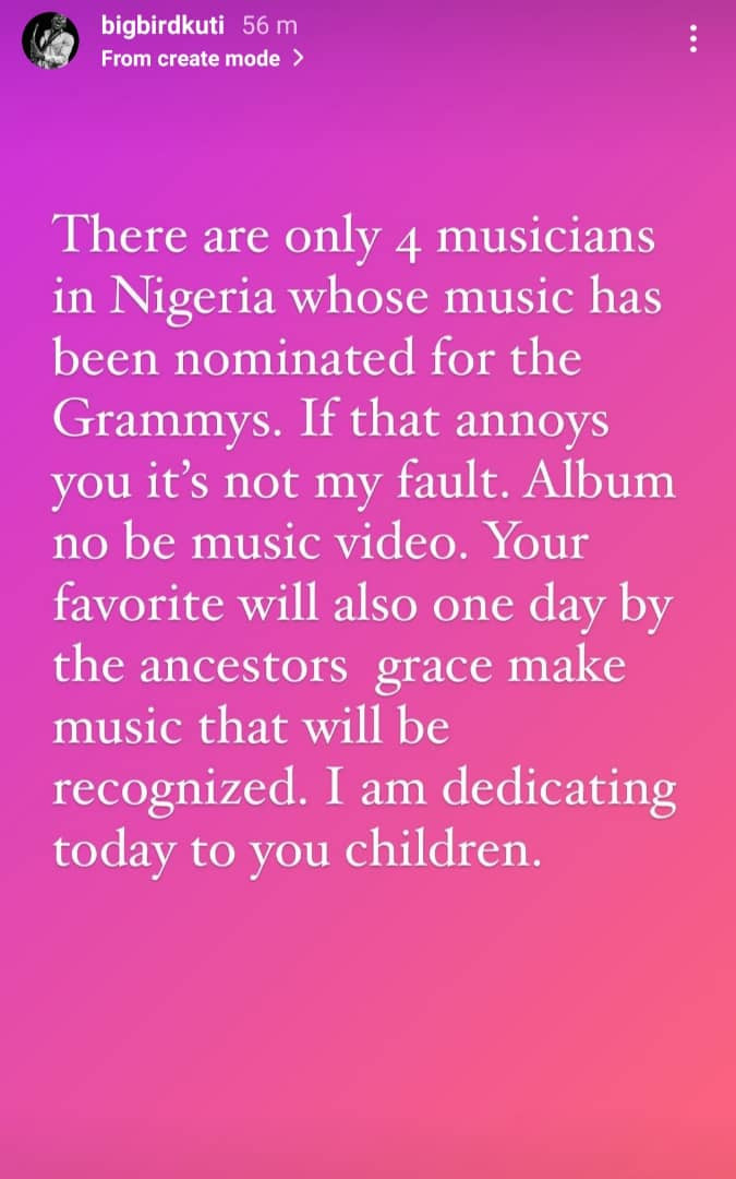 There are only four musicians in Nigeria whose music has been nominated for the Grammys - Seun Kuti insists