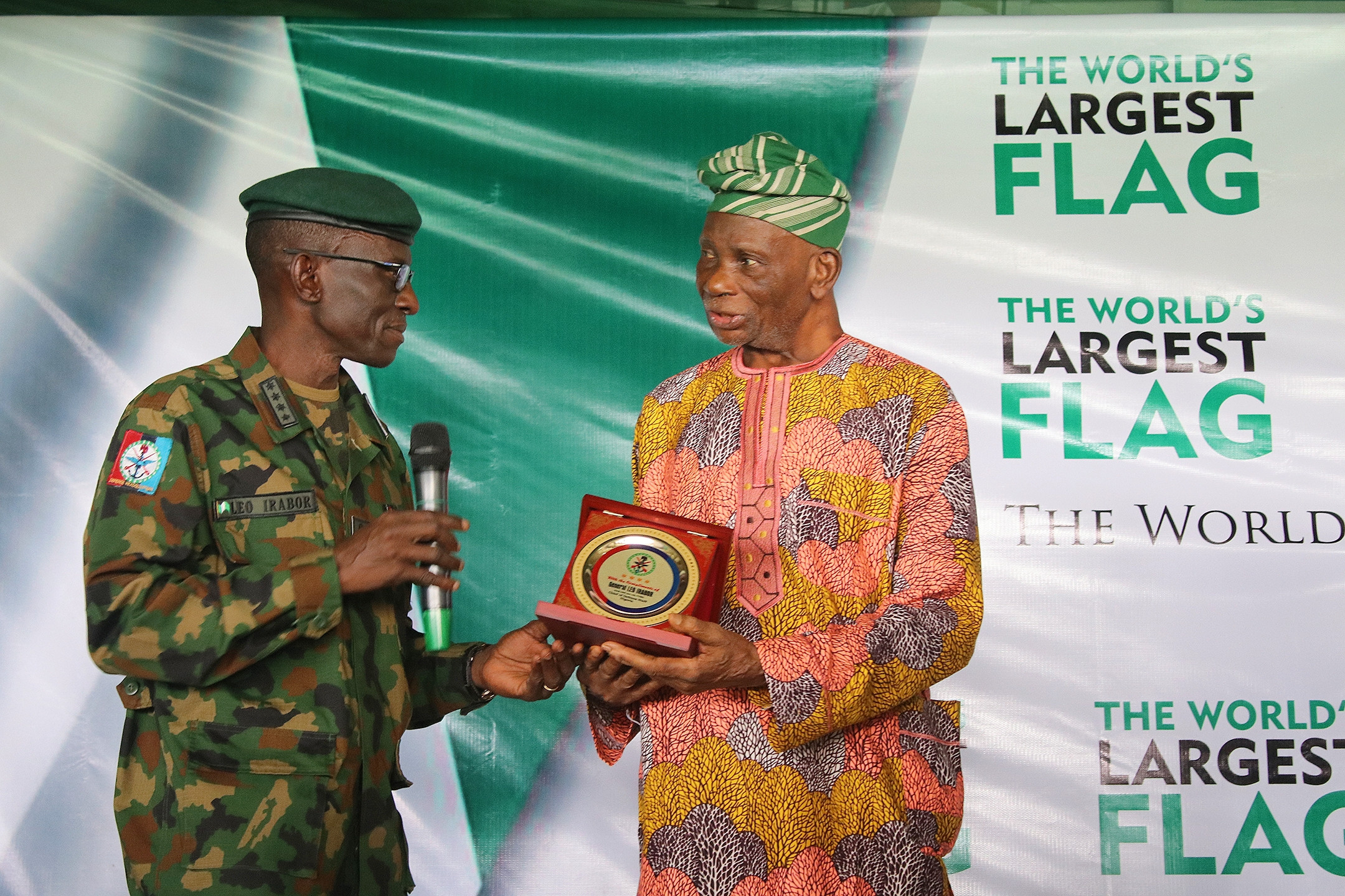 The World's Largest Flag to be hoisted was unveiled yesterday in Ibadan by the Octogenarian Pa Taiwo Akinkunmi