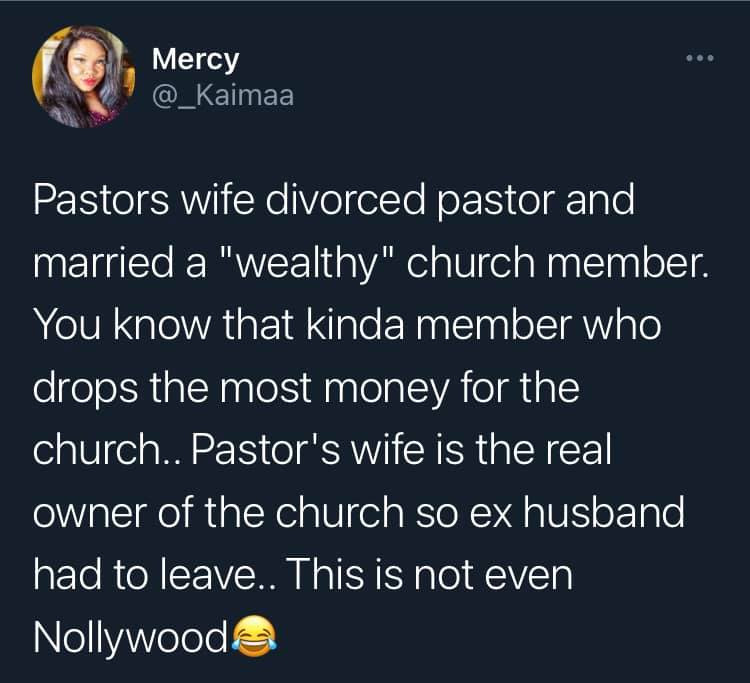 Lady divorces Pastor husband to marry wealthy church member