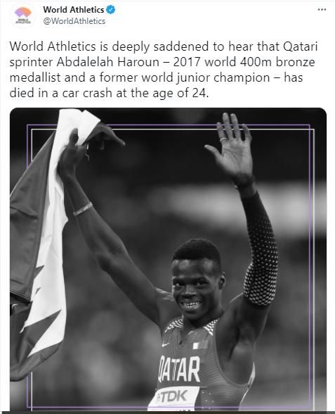 Qatari world 400m sprint bronze medalist, Abdalelah Haroun dies in car crash at 24