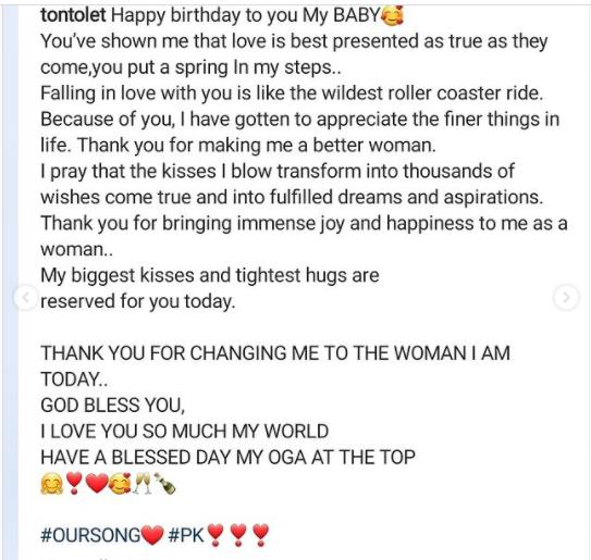"Tonto Dikeh celebrates her new man on his birthday, calls him ""the love of my life"" (photos)"