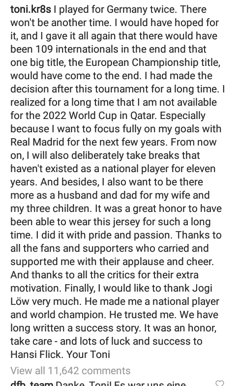 Toni Kroos retires from international football with Germany