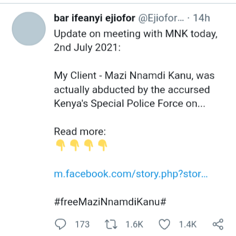 Kenyan government abducted and tortured Kanu for 8 days before handing him over to DSS