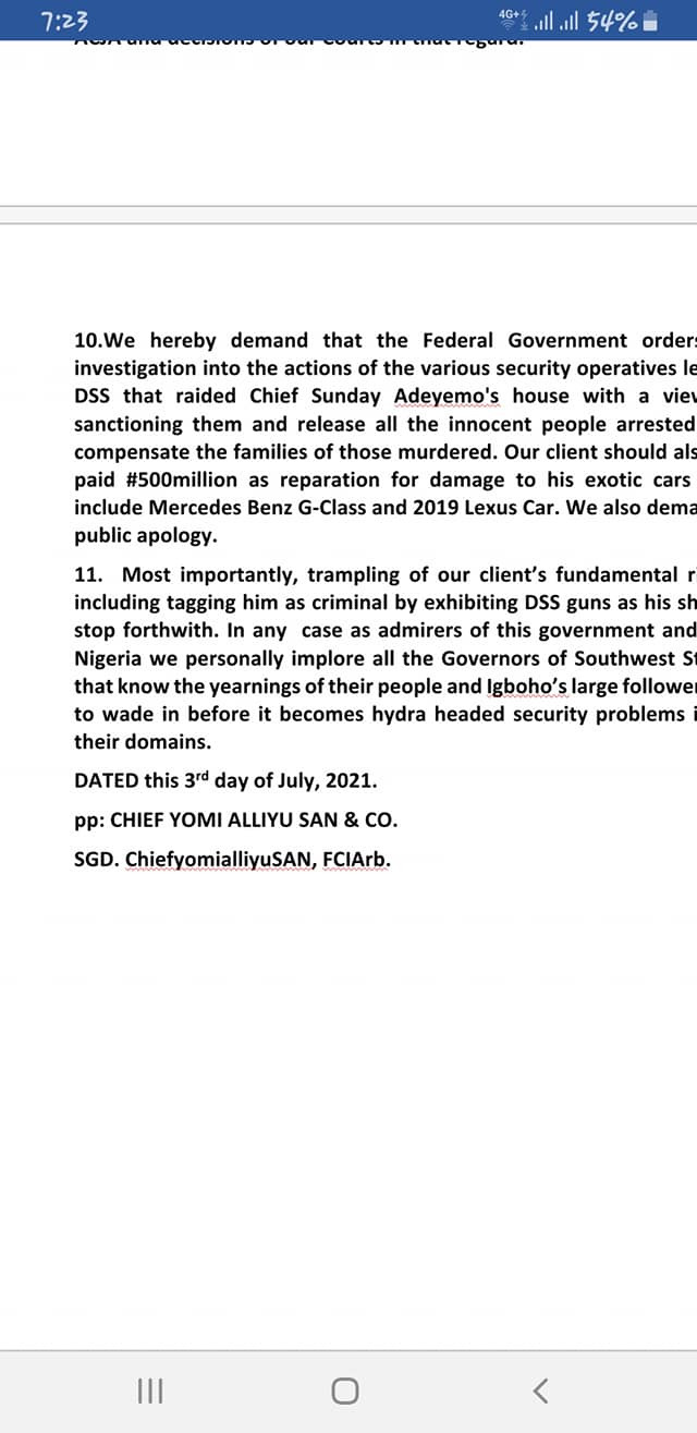 Sunday Igboho writes FG, demands N500m compensation for damage to his house and cars