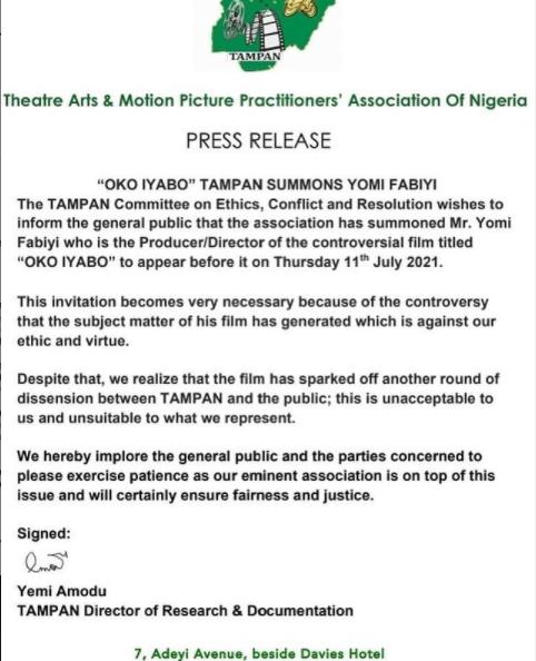 TAMPAN summons Yomi Fabiyi over controversial movie