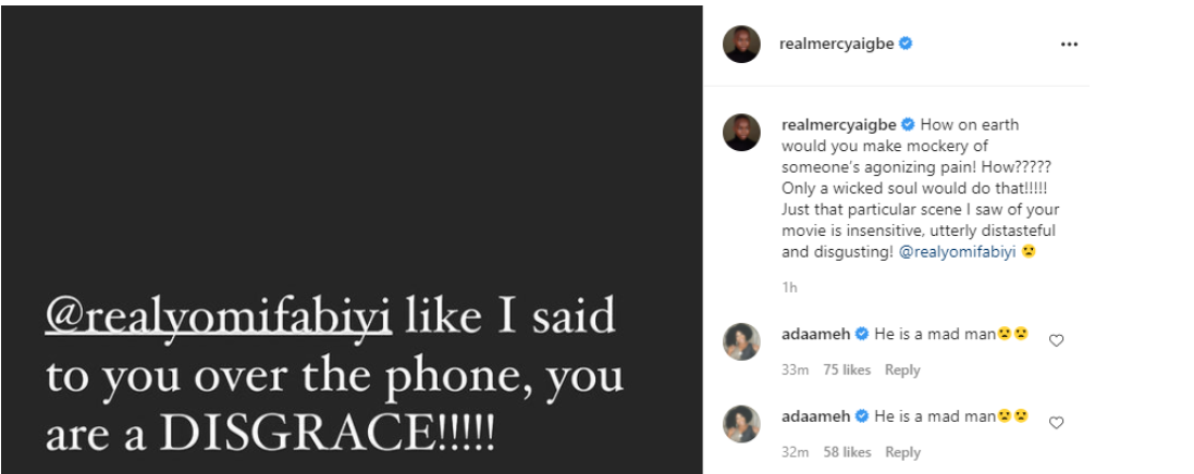 Yomi Fabiyi is a disgrace - Mercy Aigbe, calls out Yomi Fabiyi over his controversial new movie