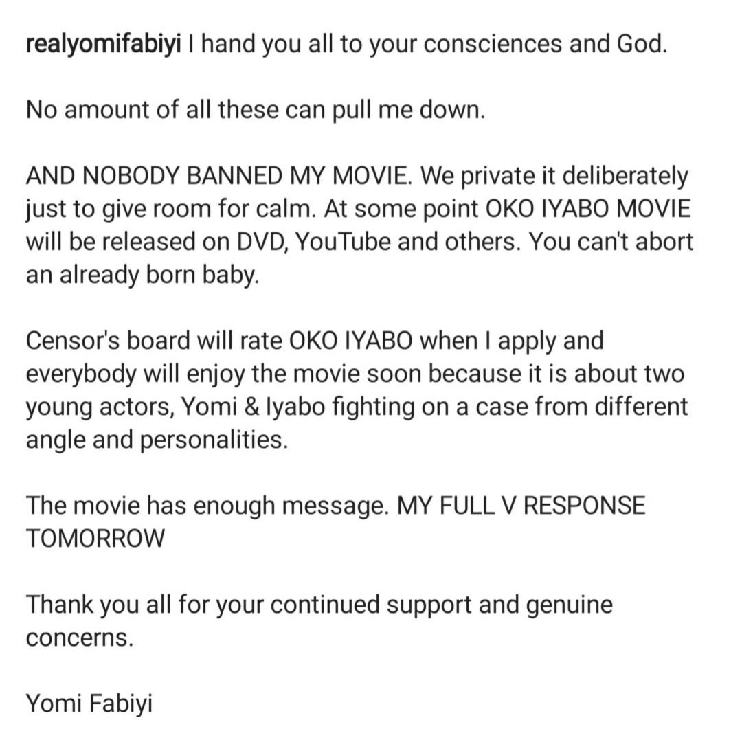 Nobody can ban my movie Oko Iyabo - Yomi Fabiyi declares