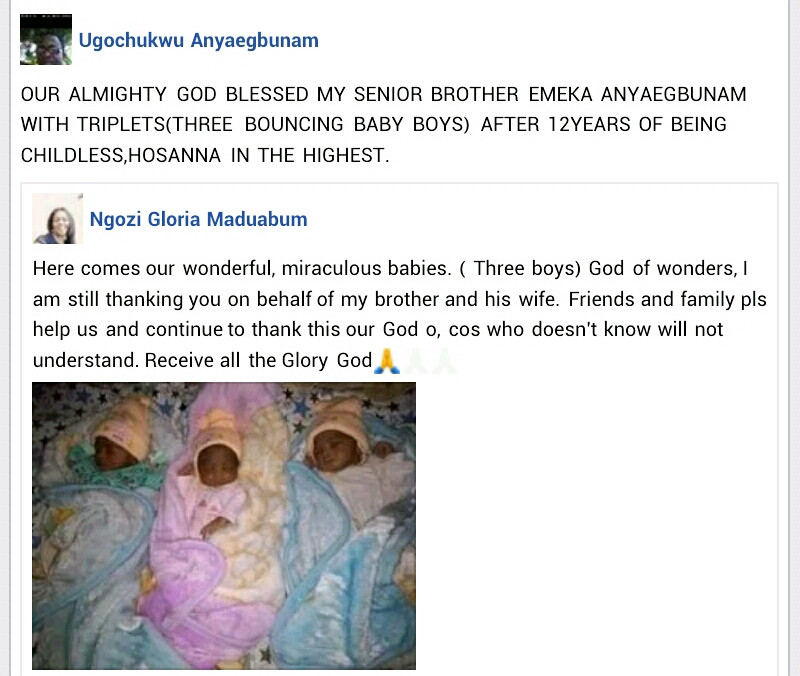 Nigerian couple welcomes triplets after 12 years of marriage
