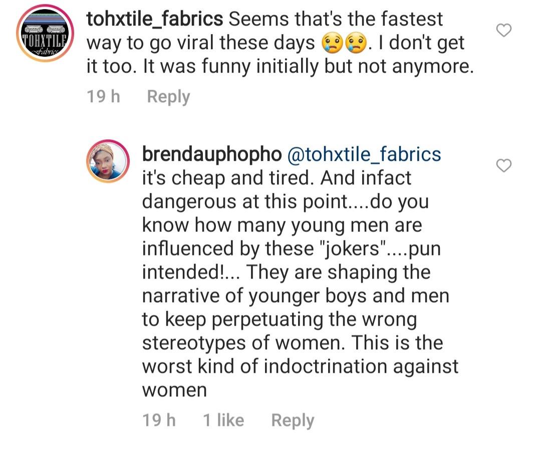 "Lala Akindoju and Ego Boyo agree as producer, Brenda Uphopho slams male comedians who dress like women in ""ridiculous"" skits"