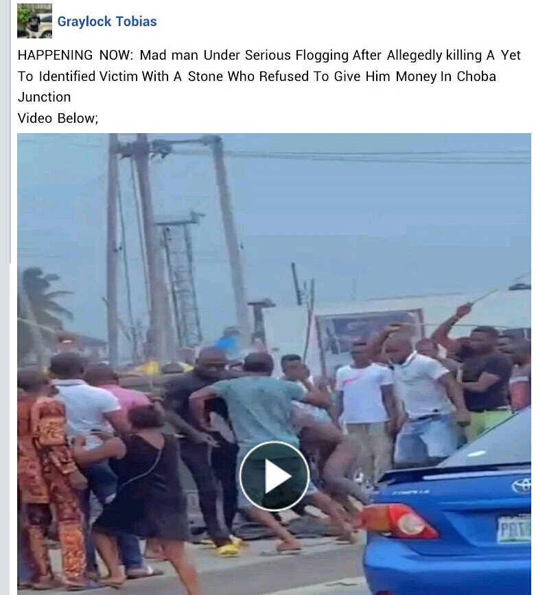 See why 'Mentally challenged' man stabs pedestrian in Port Harcourt (video)