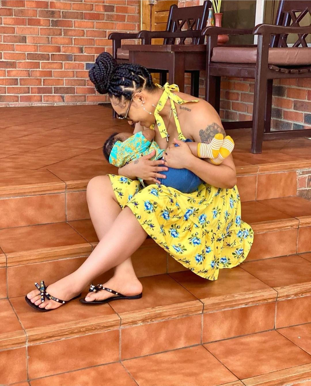 Rosy Meurer shares breastfeeding photo alongside photos of her bonding with her newborn son