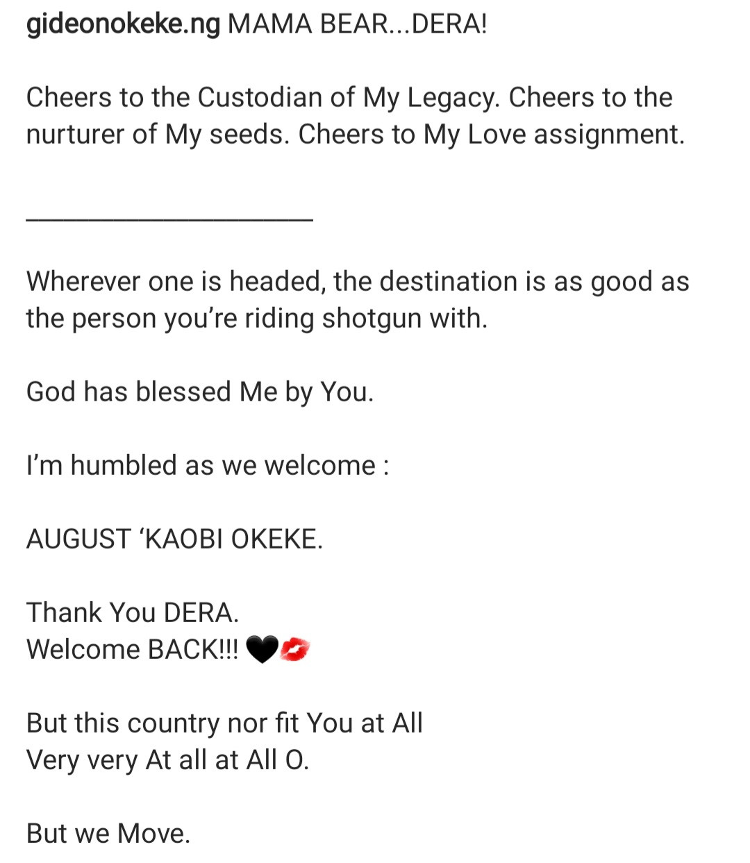 Gideon Okeke announces birth of his second child with his wife