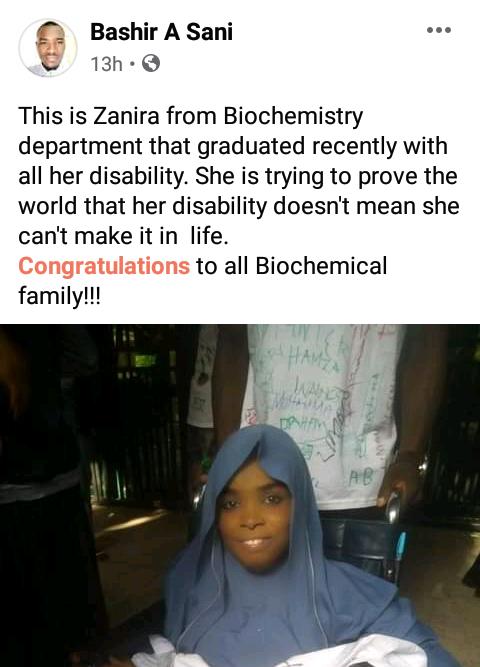 Physically challenged student celebrates as she graduates from Bayero University Kano