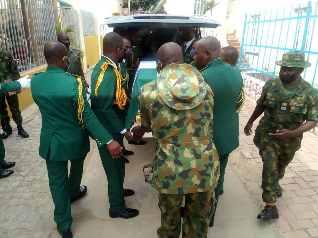 Army Commander killed by explosive device planted by Boko Haram terrorists laid to rest in Abuja