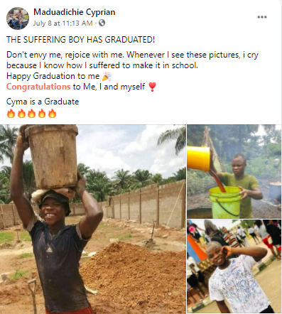 ?The suffering boy has graduated?- Man who did menial jobs to sponsor his education writes