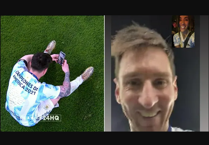 Messi videocalls his wife to celebrate Argentina