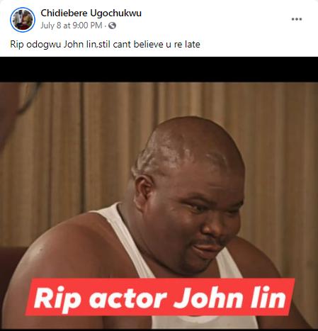 Nollywood actor, John Lee, dies