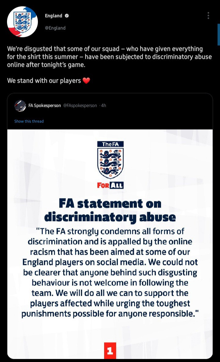 """""""We stand with our players"""" - English FA hits back at racist trolls after defeat to Italy in EURO final?"""