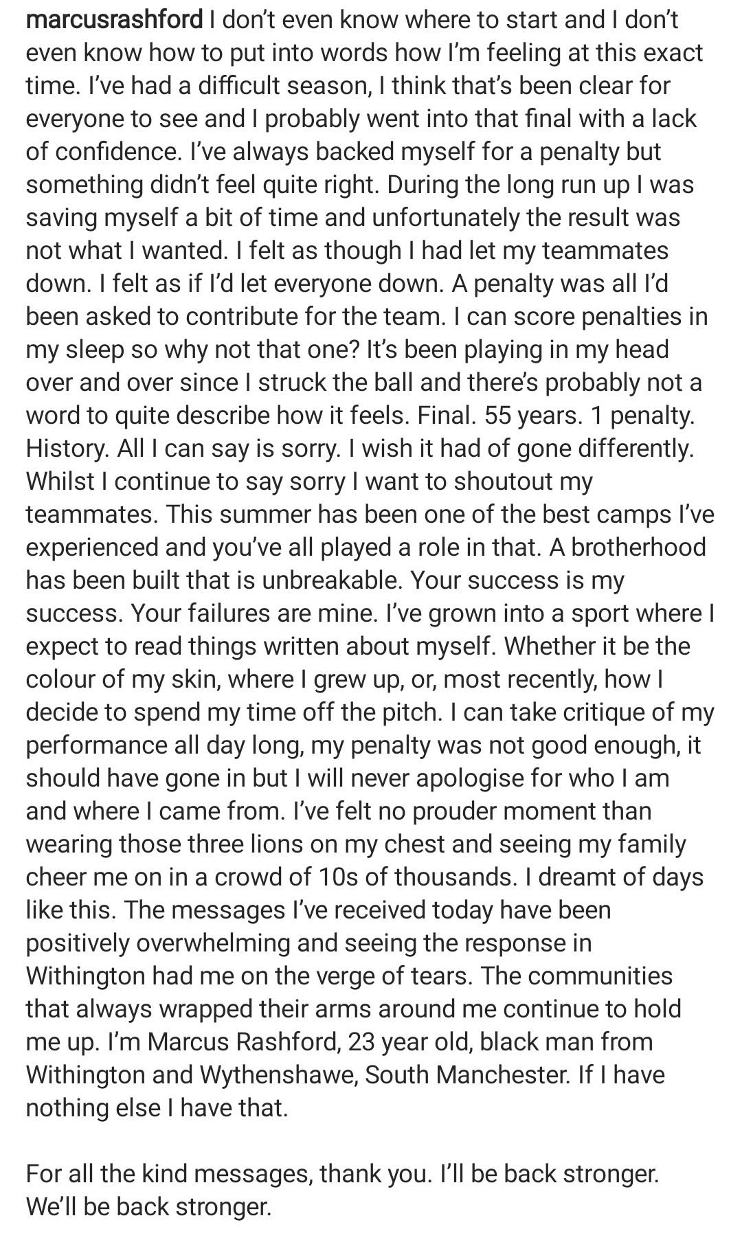 Euro 2020: Marcus Rashford brise le silence après avoir été victime d'injures racistes pour son penalty raté