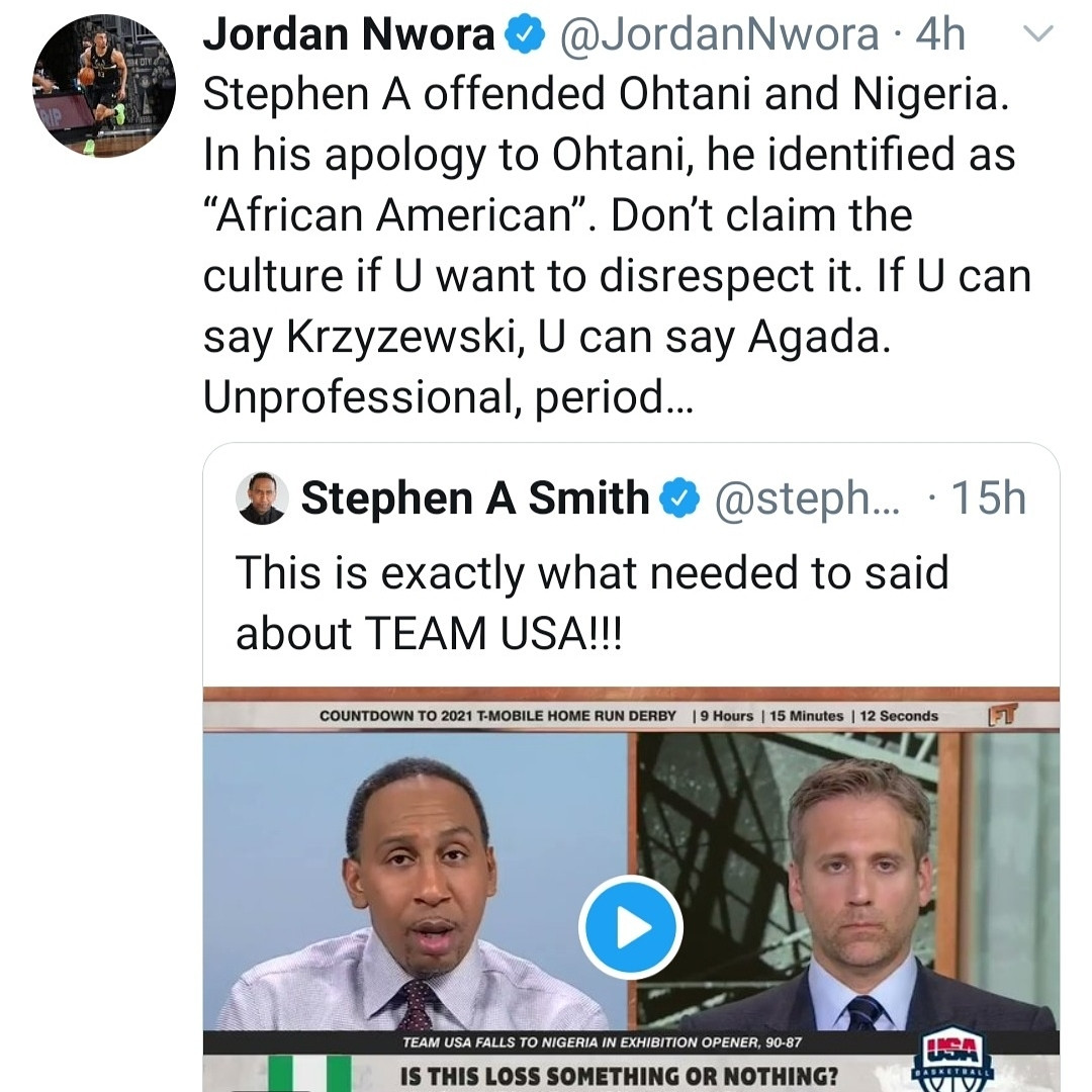 Nigerian Basketball Federation slams American TV personality over his comment about the Nigerian players who beat the U.S team