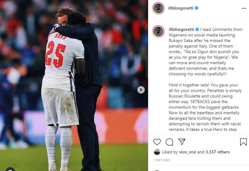Rapper Illbliss slams Nigerians taunting Bukayo Saka for missing a penalty in Euro 2020 final against Italy