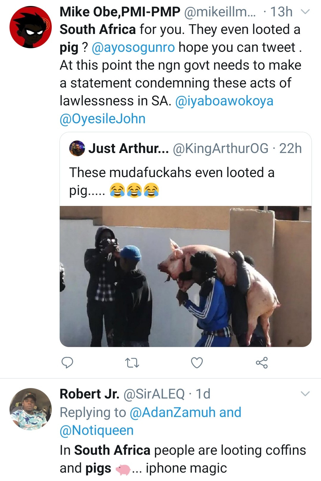 Over 30 killed, coffins, live pigs, pig carcasses and more looted as chaos continues in South Africa over former President, Jacob Zuma