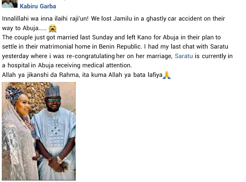 Nigerian man dies in motor accident two days after his wedding