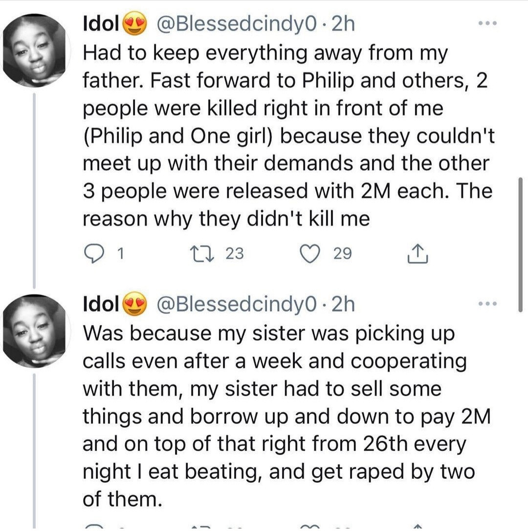 """""""Nigeria has failed me,"""" Woman kidnapped, beaten and raped for days narrates horrific experience"""