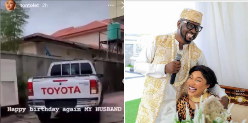 Tonto Dikeh?s man, Prince Kpokpogri takes delivery of car she bought him on his birthday (video)
