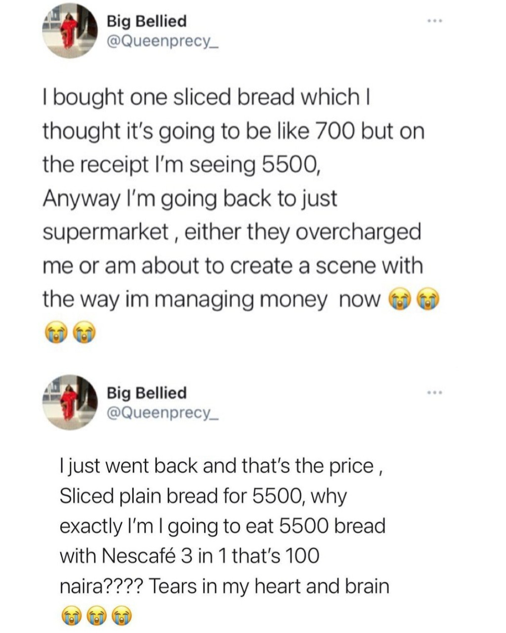 Woman laments after unknowingly buying loaf of bread for N5,500; Nigerians react