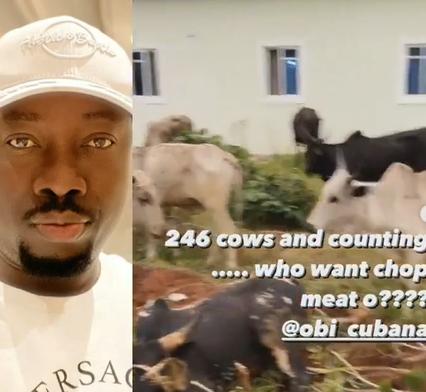 Entrepreneur, Obi Cubana, receives 246 cows from his friends for his mum