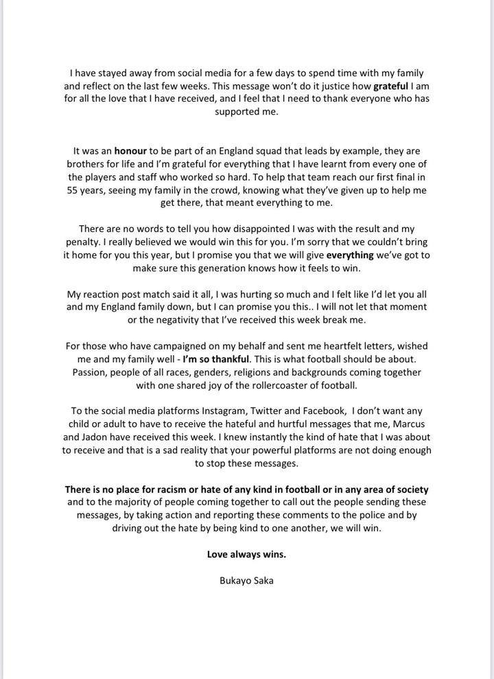 Arsenal Star, ?Bukayo Saka Shares Emotional Message After Suffering Racist Abuse