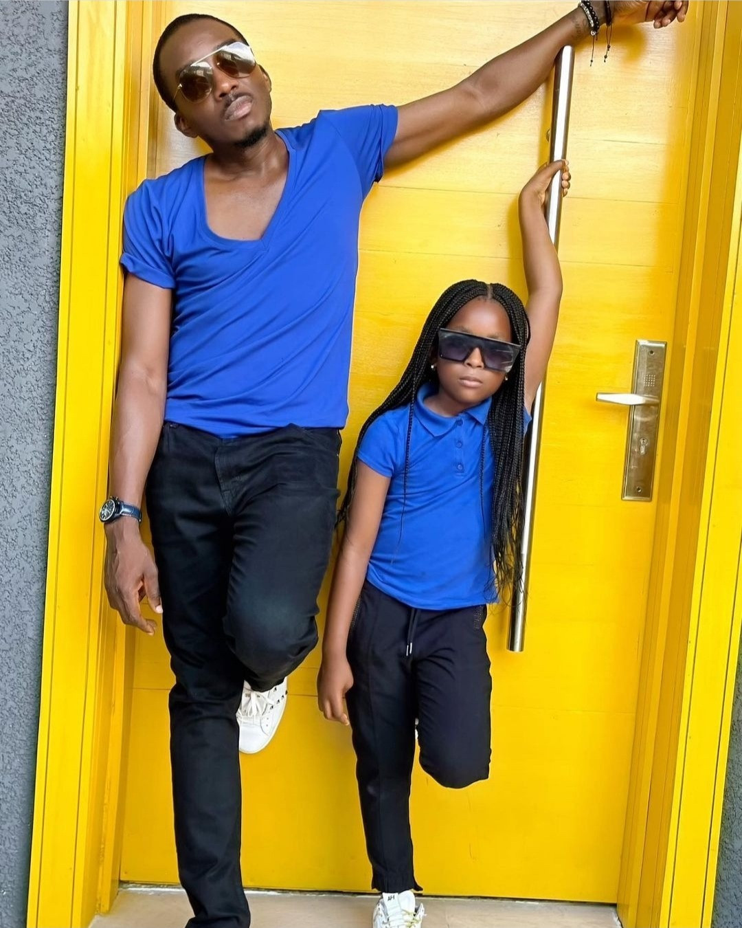 """""""I never wanted a girl child"""" Bovi reveals as he poses with his daughter in matching outfits; his wife responds"""