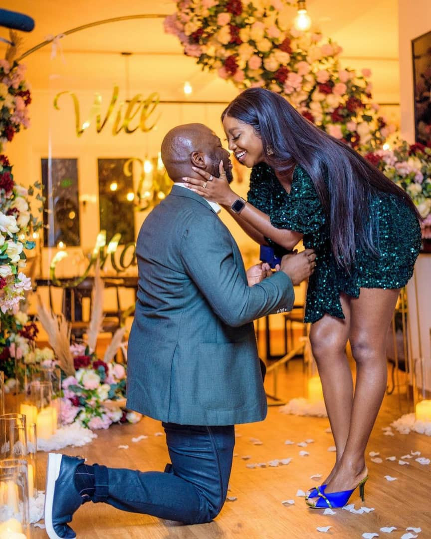 Actress Ini Dima-Okojie gets engaged to her fiance who she met via her Instastories (photos/video)