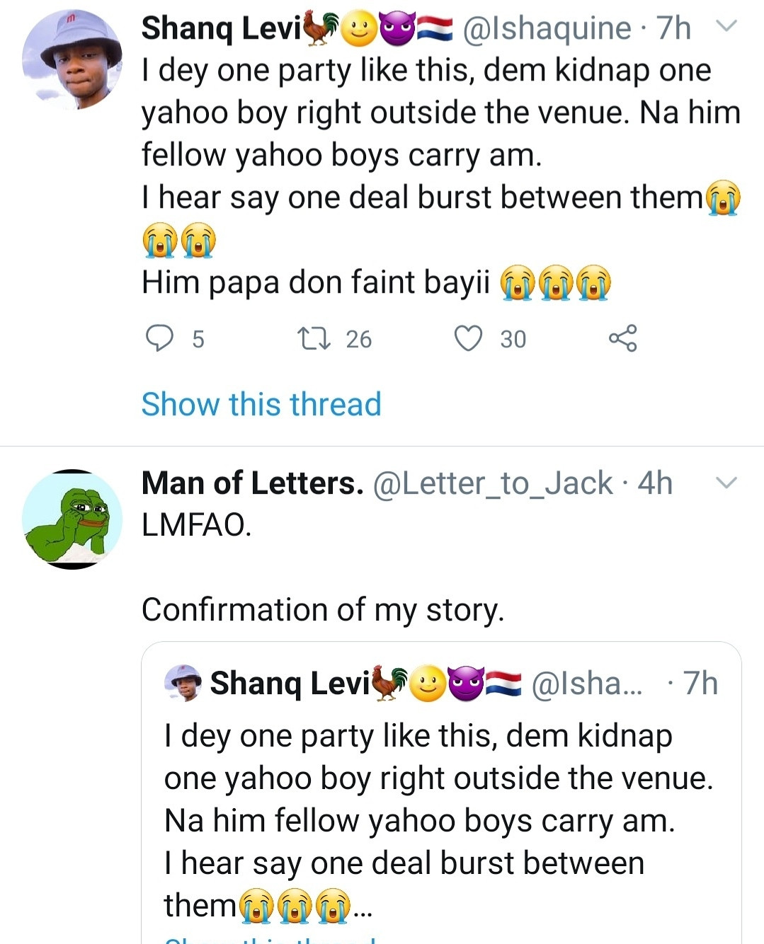 Yahoo boys allegedly kidnap groom from his wedding venue for stealing from them